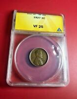 1927 ONE CENT ANACS VF 25
