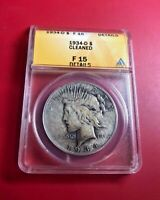 1934-D PEACE DOLLAR ANACS CERTIFIED F 15 DETAILS