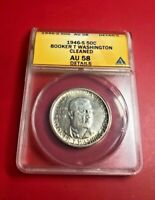 1946-S BOOKER T WASHINGTON SILVER HALF-DOLLAR COIN 50C ANACS AU 58 DETAILS