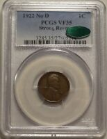 1922 NO D STRONG REVERSE 1C PCGS VF 35 CAC CHOICE  FINE LINCOLN CENT VARIETY