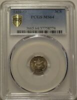 1851-O 3CS PCGS MINT STATE 64 GEM UNCIRCULATED NEW ORLEANS MINT THREE CENT SILVER COIN