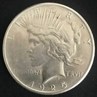 1925-P PEACE SILVER DOLLAR 90 COIN ALMOST UNCIRCULATED AU