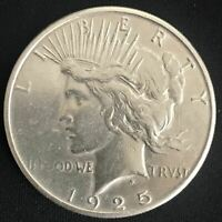 1925-S PEACE SILVER DOLLAR 90 COIN ALMOST UNCIRCULATED AU