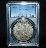 1901-P $1 MORGAN SILVER DOLLAR  PCGS EXTRA FINE -45  EXTRA FINE  EF TRUSTED