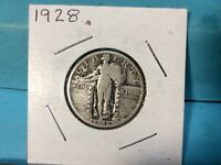 1928 STANDING LIBERTY SILVER QUARTER. EXCELLENT DETAILS & EYE APPEAL