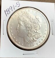 1891-S MORGAN SILVER DOLLAR,  NEAR GEM BU