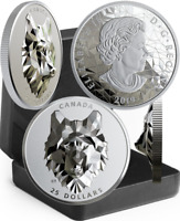 2019 WOLF MULTIFACETED ANIMAL HIGH RELIEF HEAD $25 1OZ SILVER PROOF COIN CANADA