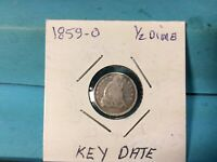 1859-O SEATED HALF SILVER DIME KEY DATE EXCELLENT DETAILS & EYE APPEAL