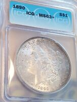 1890 MORGAN SILVER DOLLAR  ICG MINT STATE 63  ORIGINAL TONING