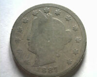 1887 LIBERTY NICKEL ABOUT GOOD AG  ORIGINAL COIN FROM BOBS COINS 99C SHIP