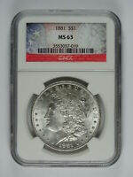 1881 P $1.00 MORGAN SILVER DOLLAR NGC MINT STATE 63 7062