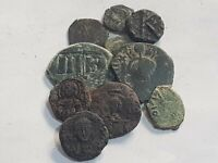 IMAZING LOT OF 10 ANCIENT SMALL BYZANTINE BRONZE COINS INTER