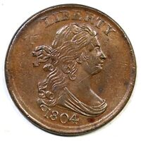 1804 C-10 CROSSLET 4, STEMS DBL OR TRIPLE STRUCK DRAPED BUST HALF CENT COIN 1/2C