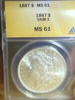 1887 P MORGAN SILVER DOLLAR ANACS CERTIFIED MINT STATE 61 VAM-1
