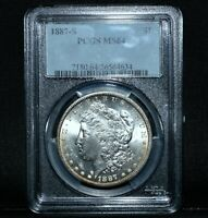 1887-S $1 MORGAN SILVER DOLLAR  PCGS MINT STATE 64  CHOICE UNCIRCULATED UNC TRUSTED