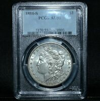 1886-S $1 MORGAN SILVER DOLLAR  PCGS AU-55  ALMOST UNCIRCULATED ABOUTTRUSTED