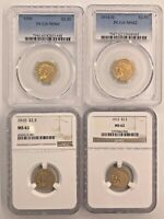 PCGS & NGC 1909/1910/1913/1914 D $2.5 GOLD INDIAN HEAD MS62/