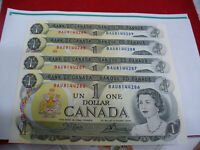 LOT OF 4  1973   CANADA ONE 1 $  DOLLAR BILL  1973   SEE PHOTOS    AUCTION