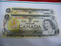 LOT OF 2  1973   CANADA ONE 1 $  DOLLAR BILL  1973   SEE PHOTOS  LOT A   AUCTION