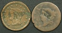 LOT OF 2 COUNTERSTAMPED COPPER LARGE CENTS: T.A.SMITHS & E M.H