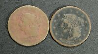 LOT OF 2 1839 BRAIDED HAIR COPPER LARGE CENTS