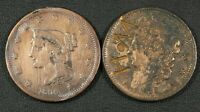 1838 COUNTERSTAMP CORONET & 1839  HARSHLY CLEANED  BRAIDED HAIR LARGE CENT LOT
