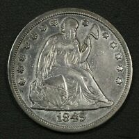 1849 NO MOTTO SEATED LIBERTY SILVER DOLLAR   CLEANED