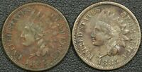 LOT OF 2 1885 INDIAN HEAD CENTS   CORRODED