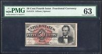 FOURTH ISSUE 50 CENT FIFTY CENT LINCOLN FRACTIONAL NOTE FR1374 PMG CU 63