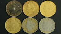 LOT OF 6 1883 NO CENTS GOLD PLATED RACKETEER LIBERTY V NICKELS
