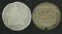 1877 CC CARSON CITY & 1886 LOVE TOKEN SEATED LIBERTY SILVER DIMES   TWO COIN LOT