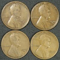 LOT OF 4 1924 D LINCOLN WHEAT CENT COPPER PENNIES