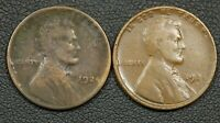LOT OF 2 1924 D LINCOLN WHEAT CENT COPPER PENNIES    ONE HAS ENVIRO. DAMAGE