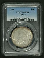 1823 UGLY 3 CAPPED BUST SILVER HALF DOLLAR PCGS AU 50