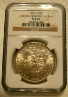 1898 O MORGAN SILVER DOLLAR NGC MINT STATE 63  LINCOLN HIGHWAY HOARD BLAST WHITE 2
