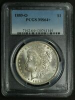 1885 O MORGAN SILVER DOLLAR PCGS MINT STATE 64 PLUS - UNCIRCULATED