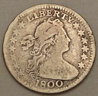 1800 DRAPED BUST HALF DIME CHOICE  GOOD TO FINE EARLY H10C SILVER TYPE COIN