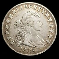 1805 DRAPED BUST HALF DOLLAR 50C COIN IN EXTRA FINE  CONDITION