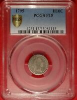 1795 H10C PCGS F 15 CHOICE FINE FLOWING HAIR HALF DIME TYPE COIN LM-8 VARIETY