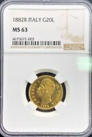1882R 20 LIRE GOLD ITALY UMBERTO I NGC MS63 6.4516G
