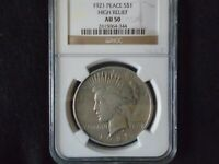 SET OF TWO 1921 PEACE DOLLAR HIGH RELIEF NGC AU50 &1926-S ICG AU50 PEACE DOLLAR