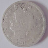SHIPS FREE 1911 LIBERTY V NICKEL  5 CENT COIN USED , OLD ,VINTAGE  L1361