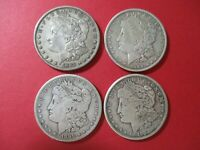 LOT OF 4  $1 MORGAN SILVER DOLLARS 1885 1889 1899S & 1921S