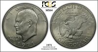 1971 EISENHOWER DOLLAR PCGS MS64 GUN METAL GREY COLOR MD REVERSE PHILLY ISSUE