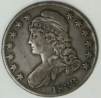 1833 50 CENTS SILVER CAPPED BUST HALF DOLLAR LETTERED EDGE