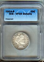 1914-S BARBER SILVER QUARTER VF/EXTRA FINE   ICG VF35 CLEANED