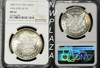 1880/79 CC TOP-100 NGC MINT STATE 62 MORGAN SILVER DOLLAR TONING VAM 4 REV OF 78    4008
