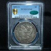 1893-S $1 MORGAN SILVER DOLLAR  PCGS EXTRA FINE -40 CAC  S$1 EXTRA FINE  TRUSTED