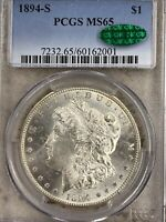 1894-S MORGAN SILVER DOLLAR, PCGS MINT STATE 65, CAC