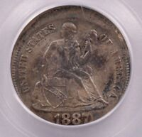 PCGS 10C 1887 SEATED DIME 5 OFF-CENTER MINT STATE 64